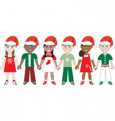 kids united Christmas vector image