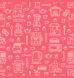 Kitchen utensil small appliances red seamless vector