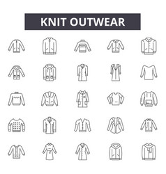 knit outwear line icons signs set vector image