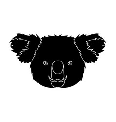 koala icon in black style isolated on white vector image