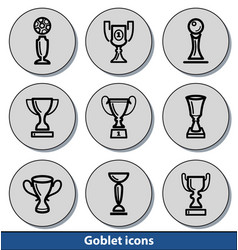 light goblet icons vector image vector image
