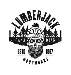 Lumberman skull with two hand saw emblem vector