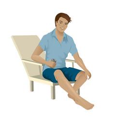 Man sitting on a beach chair vector