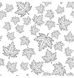 Maple leaf contour seamless pattern vector