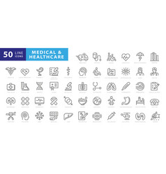 Medicine and health symbols - minimal thin line vector