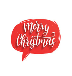 Merry christmas lettering in speech bubble vector