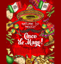 mexican holiday cinco de mayo day celebration vector image