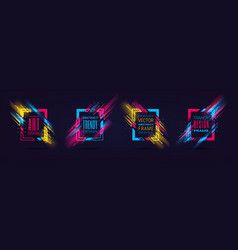 modern frames with neon glowing lines vector image