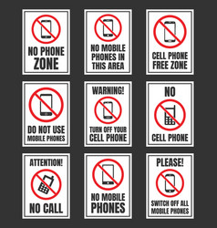 No cell phone sign mobile phone prohibited vector