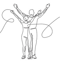 one line drawing man and woman stand together vector image