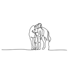 One line drawing woman stays with horse vector