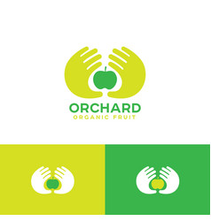 Organic fruit emblem two palms apple vector