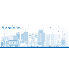 outline san salvador skyline with blue buildings vector image
