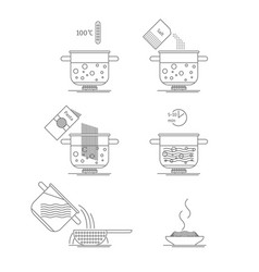 pasta cooking thin line set vector image