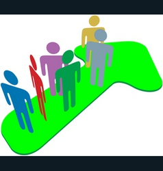 people team on symbol arrow to progress success vector image