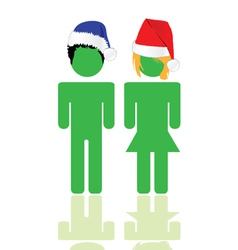 people with blue and red hat vector image