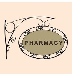 Pharmacy retro vintage street sign vector