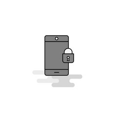 phone locked web icon flat line filled gray icon vector image