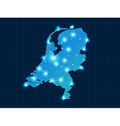pixel Netherlands map with spot lights vector image