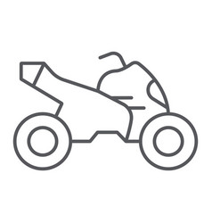 Quad bike thin line icon transport and drive vector