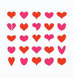 red and pink cute isolated hearts icons set vector image