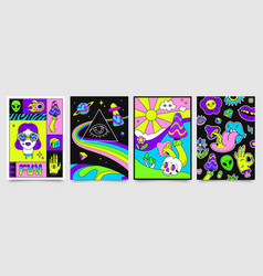 Retro psychedelic hippie posters with space vector