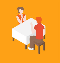 romantic date in the restaurant vector image