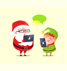 Santa elf cartoon characters chatting smartphones vector