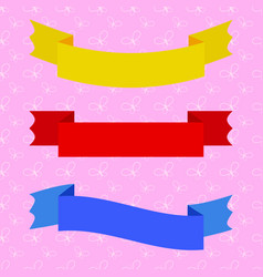 set of isolated flat colored ribbons banners vector image