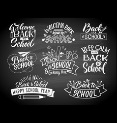 set of monochrome school labels emblem vector image