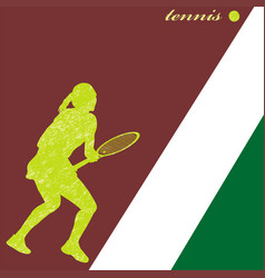 silhouette a tennis player vector image