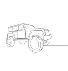 Single line drawing of 4x4 wheel drive tough jeep vector