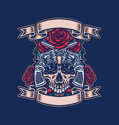 skull with guns and roses vector image
