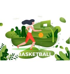 sporty girl playing basketball vector image