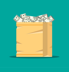 stack dollar banknotes in paper shopping bag vector image