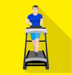 Student man treadmill icon flat style vector
