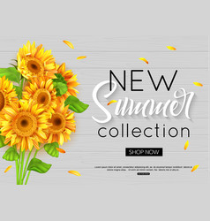 summer banner with realistic sunflower for online vector image