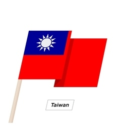 Taiwan Ribbon Waving Flag Isolated on White vector image