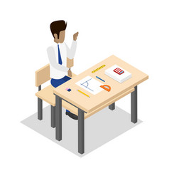 teacher teaching geometry isometric 3d icon vector image