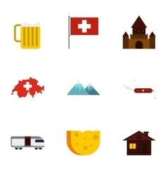 Tourism in Switzerland icons set flat style vector image