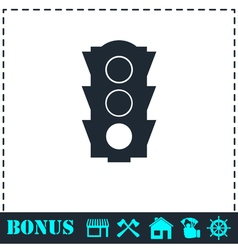 Traffic light icon flat vector