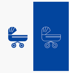 trolly baby kids push stroller line and glyph web vector image