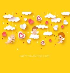 Valentine day greeting card with cut paper cupid vector