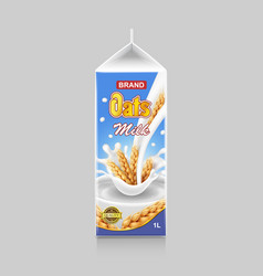 vegetarian paper pack oat milk container vector image
