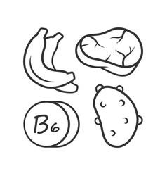 Vitamin b6 linear icon meat banana and potato vector