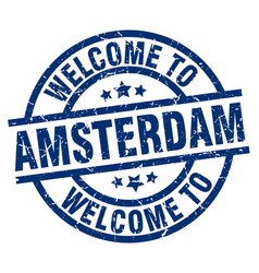 Welcome to amsterdam blue stamp vector