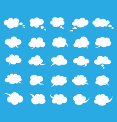 white clouds speak bubbles set on blue background vector image