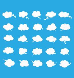 white clouds speak bubbles set on blue background vector image