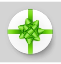 White Gift Box with Green Bow Top View vector
