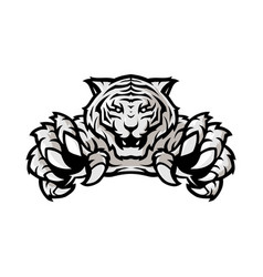 white tiger sport gaming logo template with white vector image